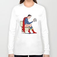 toilet Long Sleeve T-shirts featuring Superhero On Toilet by WyattDesign