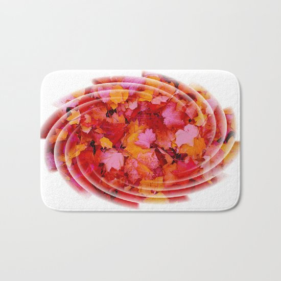 Swirling colored leaves Bath Mat