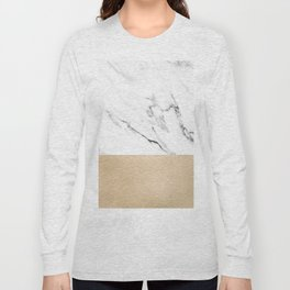 White Marble with Black and Copper Bronze Long Sleeve T-shirt