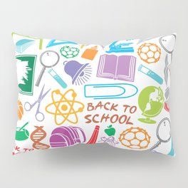 education and school icons background (seamless pattern) Pillow Sham