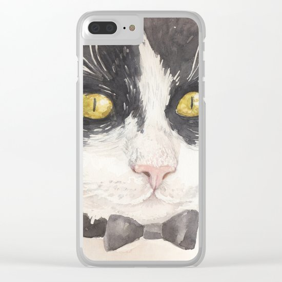Tuxedo cat Clear iPhone Case