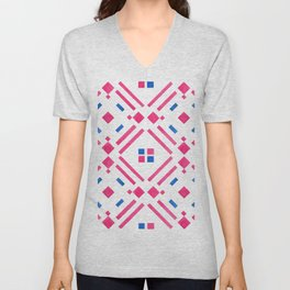 Modern hand painted geometrical pink blue watercolor Unisex V-Neck