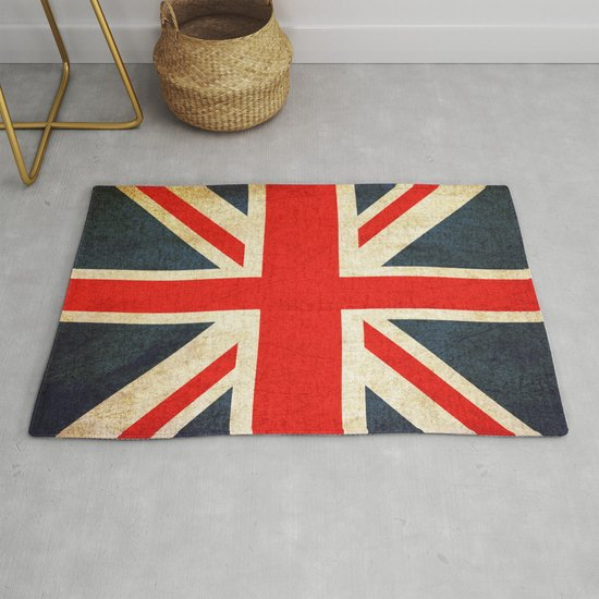 Vintage Union Jack British Flag Rug By
