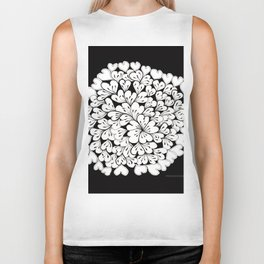 Hearts and Flowers Zentangle black and white illustration Biker Tank