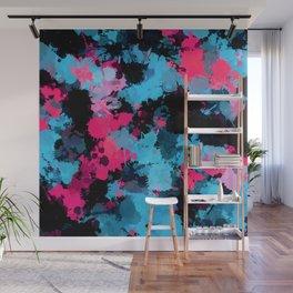 Pink and Blue Paint Splatter Wall Mural