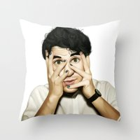 darren criss Throw Pillows featuring Darren Criss by weepingwillow