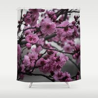 cherry blossom Shower Curtains featuring Cherry Blossom by Michelle McConnell