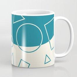 Turquoise Cream Geometric Shape Wave Modern Pattern Coffee Mug