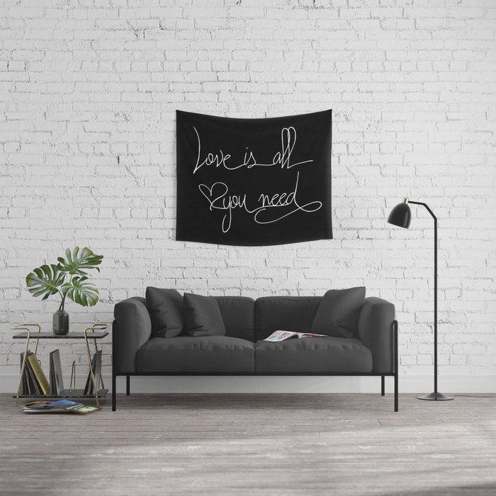 Love is all you need white hand lettering on black Wall Tapestry