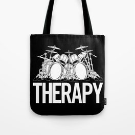 Drummers Therapy Drum Set Cartoon Illustration Tote Bag