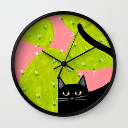 Black Cat with Cactus Wall Clock