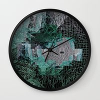 grid Wall Clocks featuring Grid by Leanne Miller