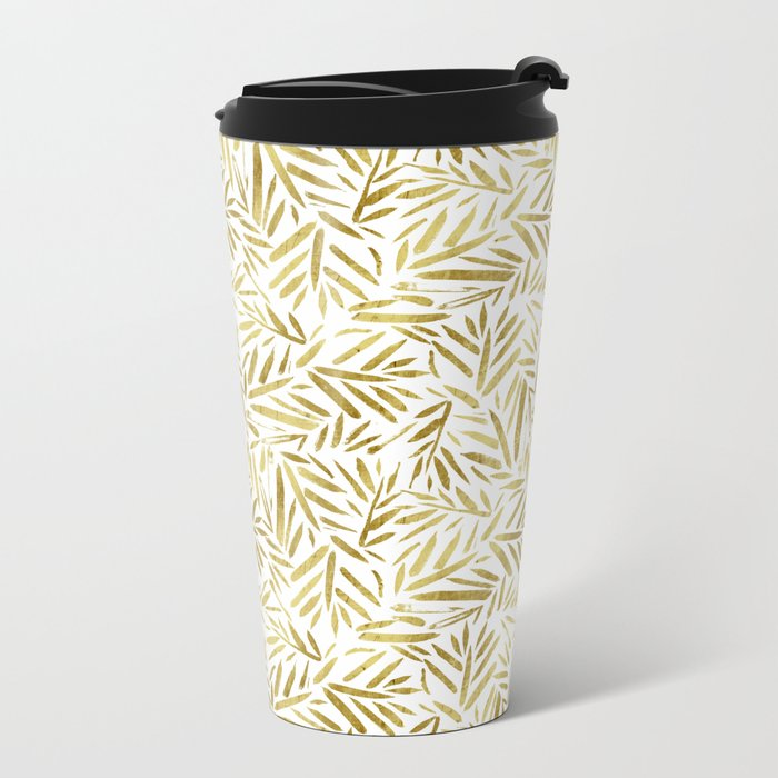 Glam Gold Leaves Metal Travel Mug