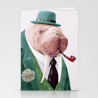 walrus Stationery Cards featuring Walrus Green by Animal Crew