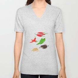 Watercolor Illustration of chili and pepper Unisex V-Neck