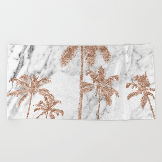 Rose gold palms on marble Beach Towel