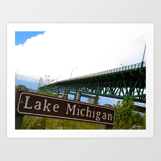Lake Michigan - Mackinac Bridge Art Print