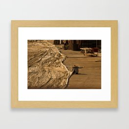 Fisherman sewing net Framed Art Print