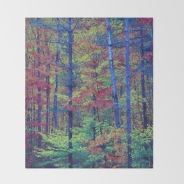 Forest - with exaggerated colors Throw Blanket