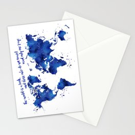 The world is a book, world map in shades of blue watercolor Stationery Cards