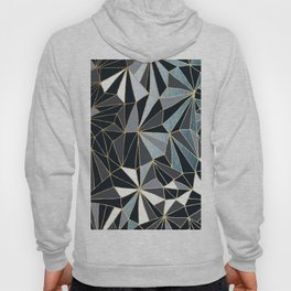Stylish Art Deco Geometric Pattern - Black, blue, Gold #abstract #pattern Hoody