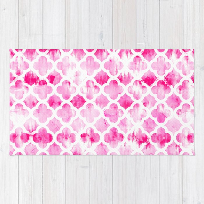 Modern Neon Pink Tie Dye Watercolor Quatrefoil Pattern Rug