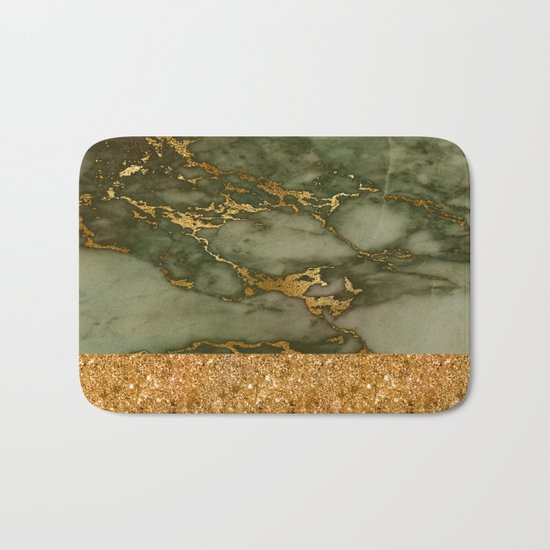 Green Marble with Gold and Glitter Bath Mat