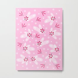 Pine branches, snowflakes and berries on pink Metal Print