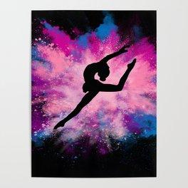 gymnast dancer colour splash Poster