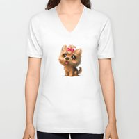 terrier V-neck T-shirts featuring Yorkshire Terrier by Antracit
