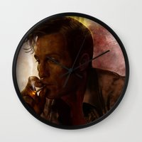 true detective Wall Clocks featuring True Detective : Rust Cohle  by p1xer