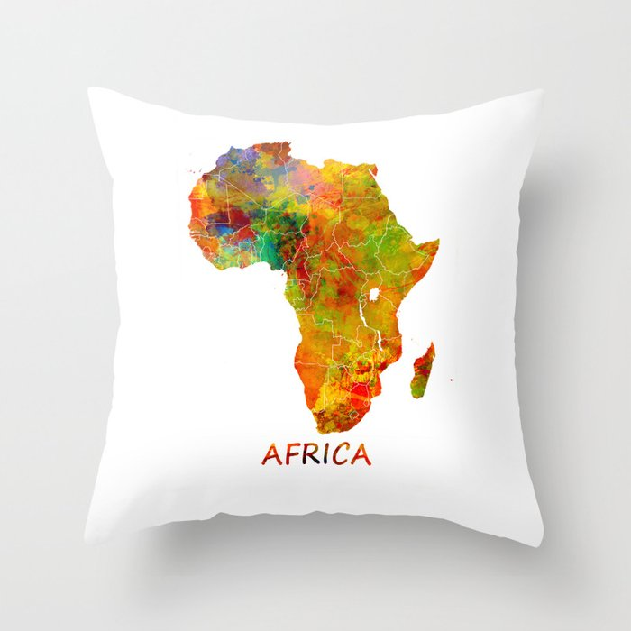 Africa map colored Throw Pillow