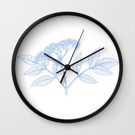 Elderflower In Blue Minimalist Nature Wall Clock