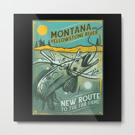 VINTAGE FISHING MONTANA Metal Print