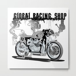 Concept demonstrating the construction of a sports bike. Metal Print
