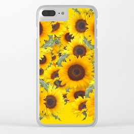 DECORATIVE WESTERN YELLOW SUNFLOWERS FIELDS Clear iPhone Case