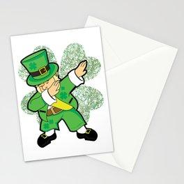 St Patricks Day Dabbing Leprechaun Clover Irish print Stationery Cards