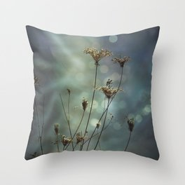 Queen Anne's Lace on Bokeh Background Throw Pillow