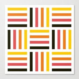 Geometric Pattern #71 (yellow pink stripes) Canvas Print