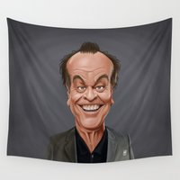 jack Wall Tapestries featuring Celebrity Sunday ~ Jack Nicholson by rob art | illustration