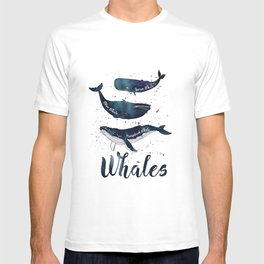 Watercolor Whales print T-shirt
