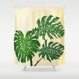 Monstera on Yellows Shower Curtain