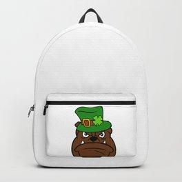 Leprechaun Bulldog - St. Patricks Day Shamrock Backpack