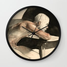 'The Pondering Man' Male Figure Drawing in Classic Realism Wall Clock