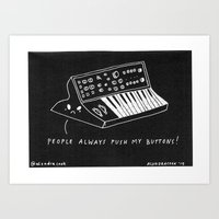 pun Art Prints featuring Moog pun by Alxndra Cook