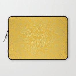 Golden Luxury Paisley on Yellow Background Laptop Sleeve