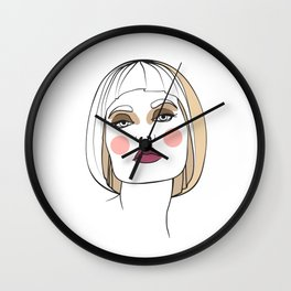 Blonde woman with makeup. Abstract face. Fashion illustration Wall Clock
