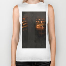 Burning city buildings urban destruction digital illustration Biker Tank