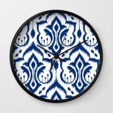 Ikat Damask Navy Wall Clock