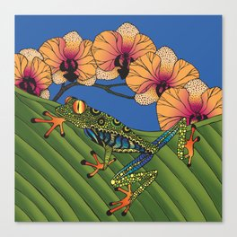 Tree Frog with Orchids Canvas Print